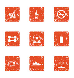 Pastime icons set grunge style vector
