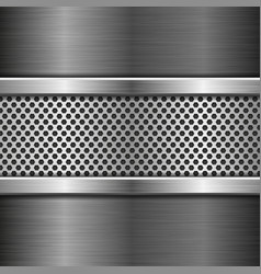 Perforated background on metal brushed background vector