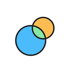 Pie chart intersecting circles venn diagram flat vector
