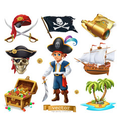 Pirates set boy treasure chest map flag ship vector