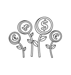 Plants with coins isolated icon vector