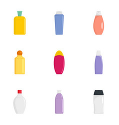 plastic bottle icon set flat style vector image