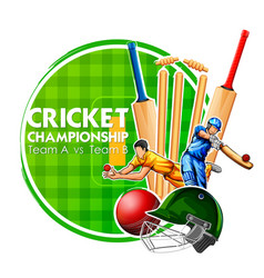 Player bat ball and helmet on cricket sports vector