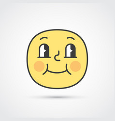 pleased emoji face with big eyes eps10 vector image