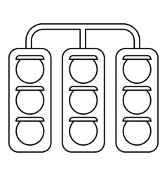 Racing traffic lights icon outline style vector image
