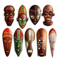 Realistic african masks set vector