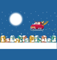 santa flying sleigh car over winter town at night vector image
