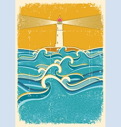 sea waves and lighthouseAbstract on old paper vector image