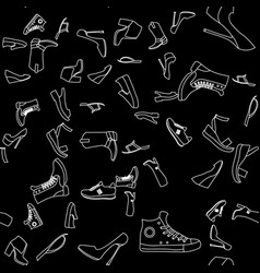 seamless pattern of object of footwear and woman vector image