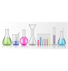 set isolated glassware flask or glass bottle vector image