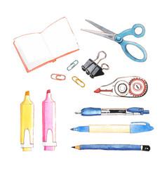 Set isolated watercolor scissors pencil pen vector
