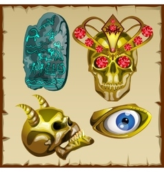 Set of ancient treasures skull and ornaments vector image
