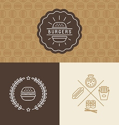 set of burger package design elements vector image