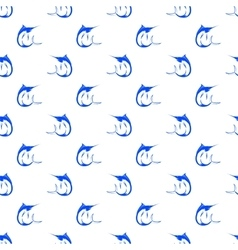 Set of Fish Marlin Seamless Pattern vector