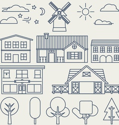 Set of linear elements and icons with buildings vector
