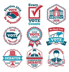 Set of Vote labels and badges for elections vector