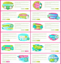 set web pages with promo posters promotion vector image