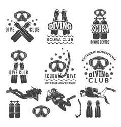 Silhouette of scuba and divers labels for sea vector