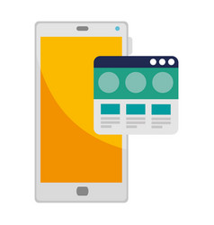 Smartphone device with webpage template vector