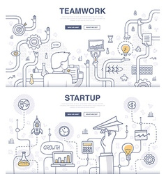 Startup and teamwork doodle concepts vector