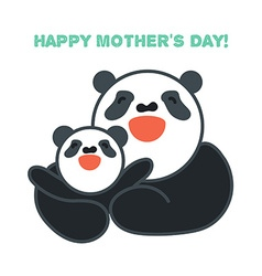 Sticker card with happy mother and child panda vector