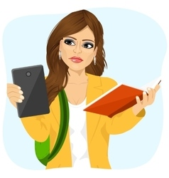 Student girl choosing between tablet and books vector