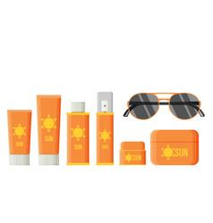 Sunscreen care sun protection cosmetics cream vector