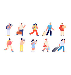 touristic characters travelers people travelling vector image