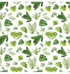 tropical seamless pattern jungle exotic leaves vector image