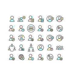 Users filled outline icon set vector