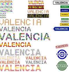 Valencia text design set vector