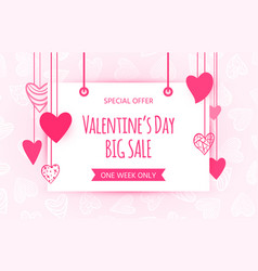valentines day sale heart love text banner vector image