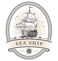 vintage sea ship emblem vector image