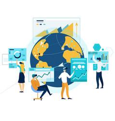 virtual business meeting online global teamwork vector image