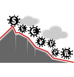 virus covid-19 and world economy vector image