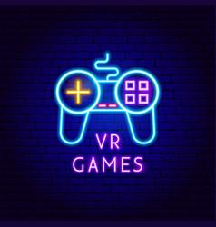 Vr games neon label vector