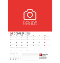 wall calendar planner for 2018 year october print vector image