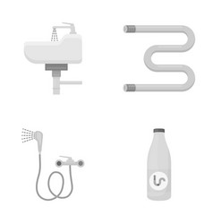 Washbasin heated towel-dryer mixer showers and vector