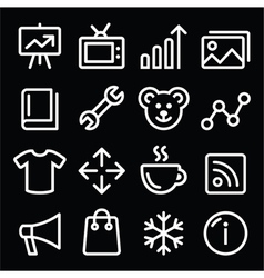 Web white navigation line icons set vector image
