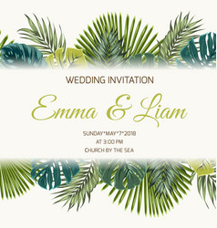 Wedding invitation tropical greenery turquoise vector