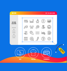 Whistle waves and sun line icons signature vector