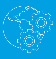 World planet and gears icon outline style vector