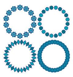 blue moroccan circle frames vector image vector image