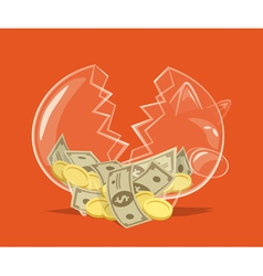 Broken glass piggy bank vector image vector image