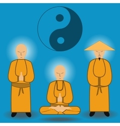 chinese shaolin monks vector image