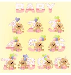 cute baby birthday digits vector image vector image