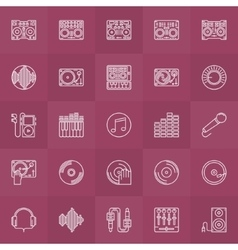 DJ outline icons set vector image vector image