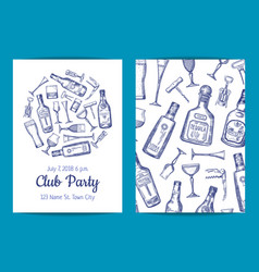 hand drawn alcohol drink bottles and vector image vector image