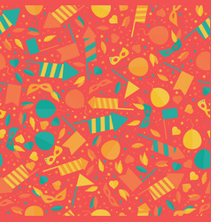 happy carnival festive seamless pattern with mask vector image vector image