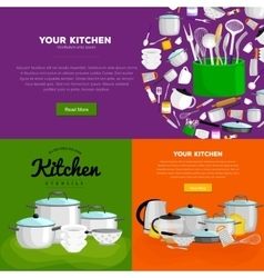 home and restaurant kitchenware banner set vector image vector image